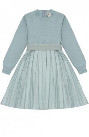 Платье с длинным рукавом и юбкой в складку Caf. Цвет: голубой