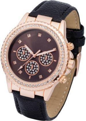 Наручные часы с аппликацией из страз (розово-золотистый/черный) bonprix. Цвет: розово-золотистый/черный
