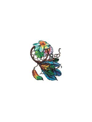 Временное тату Ловец снов МнеТату. Цвет: голубой, желтый, зеленый, красный, морская волна, синий, сиреневый, фиолетовый, черный