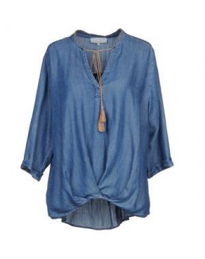 Джинсовая рубашка LA FEE MARABOUTEE. Цвет: синий