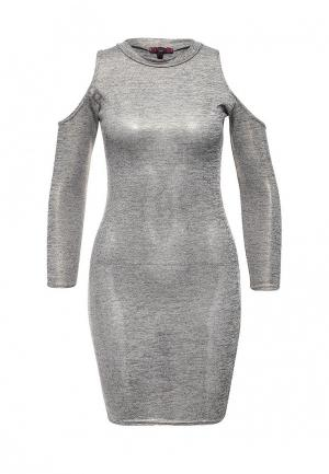 Платье Missi London. Цвет: серебряный