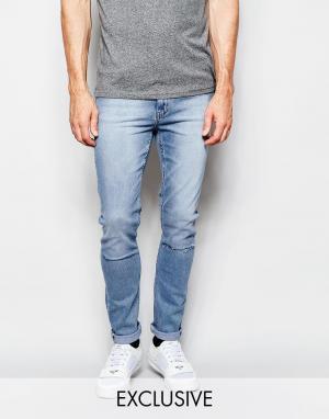 Cheap Monday Рваные джинсы скинни из стираного денима. Цвет: синий