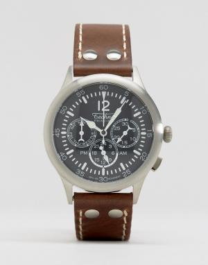 Techne Часы-хронограф с коричневым кожаным ремешком Merlin. Цвет: коричневый