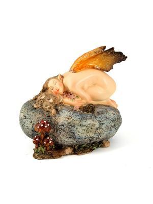 Фигурка декоративная Девушка Эльф Русские подарки. Цвет: серый, светло-оранжевый, бежевый
