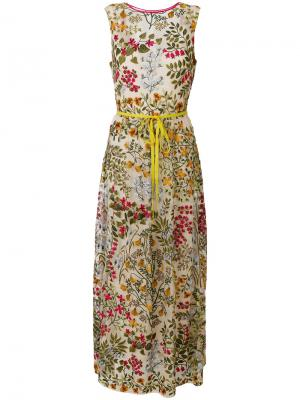 Длинное платье с цветочным принтом Red Valentino. Цвет: многоцветный