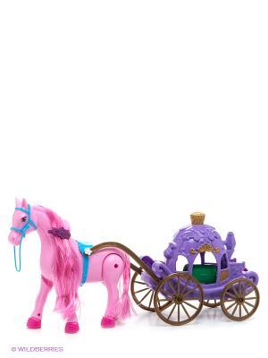 Лошадка с каретой S-S. Цвет: фиолетовый, розовый, зеленый