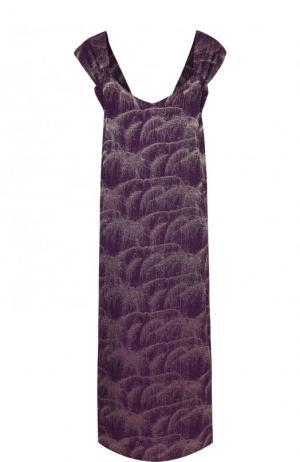 Шелковое платье-миди без рукавов Dries Van Noten. Цвет: фиолетовый
