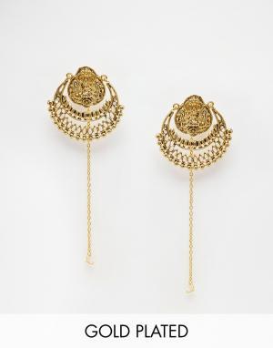 Taara Jewellery Серьги с покрытием из 22-каратного золота. Цвет: золотой