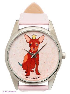 Часы Mitya Veselkov Королевский пес. Цвет: розовый