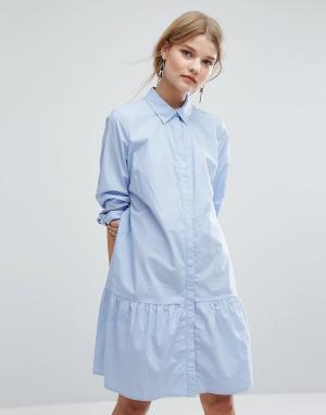 Gestuz Цельнокройное платье с оборкой на подоле Inesa. Цвет: синий