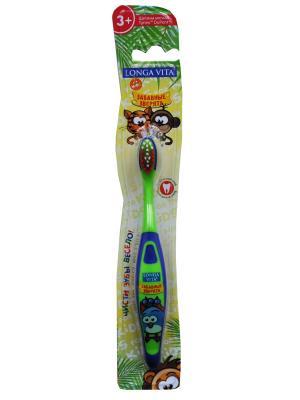 Детская зубная щетка Забавные зверята Longa Vita. Цвет: зеленый