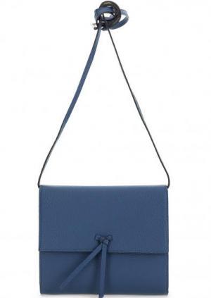 Кожаный клатч с откидным клапаном Abro. Цвет: синий