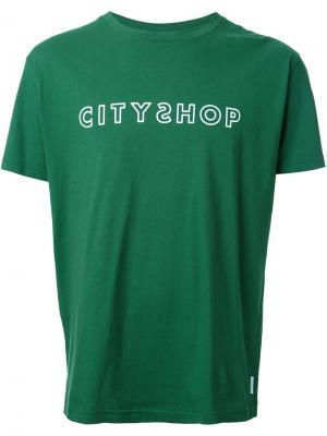 Футболка с принтом-логотипом Cityshop. Цвет: зелёный