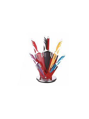 Набор ножей нерж. сталь с топором, ножницами, муссатом, антибактериальное покрытие Peterhof. Цвет: красный, желтый, синий