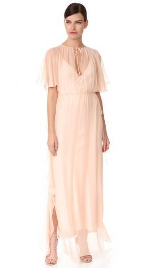 Присборенное вечернее платье с оборками Juan Carlos Obando. Цвет: розовый
