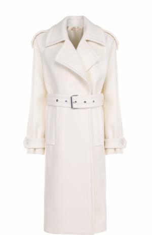 Шерстяное пальто с поясом Michael Kors. Цвет: белый