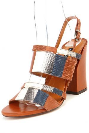 Туфли летние открытые Arezzo. Цвет: коричневый
