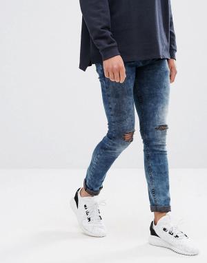ASOS Супероблегающие джинсы с рваной отделкой и эффектом кислотной стирки A. Цвет: черный