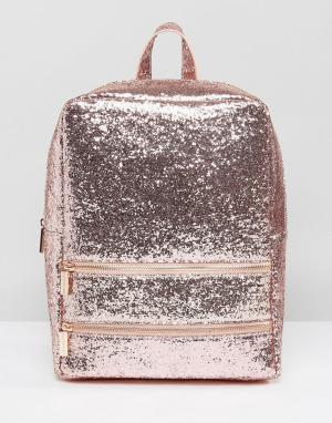Skinnydip Розовый рюкзак с блестками. Цвет: розовый
