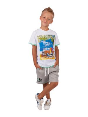 Футболка, шорты, коллекция Тропики Апрель. Цвет: белый, бежевый