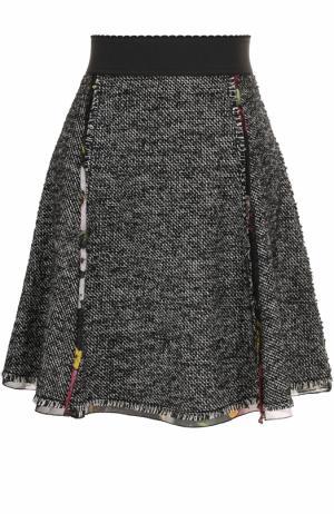 Мини-юбка А-силуэта с широким поясом Dolce & Gabbana. Цвет: серый