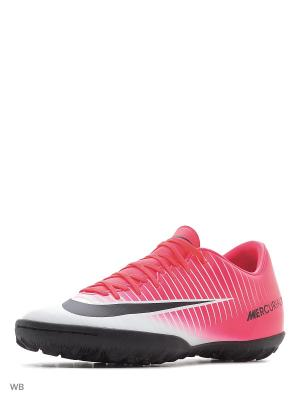 Бутсы MERCURIALX VICTORY VI TF Nike. Цвет: розовый, белый