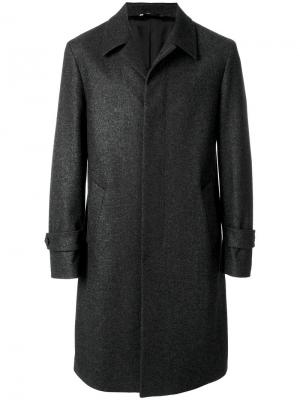 Пальто с потайной застежкой на пуговицах Hevo. Цвет: серый