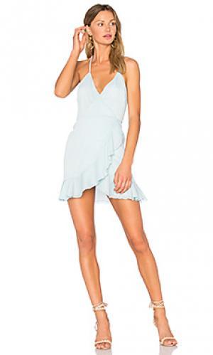 Платье с запахом gigi Lovers + Friends. Цвет: нежно-голубой