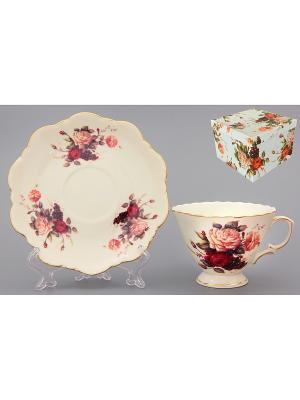 Чайная пара Бархатный нектар Elan Gallery. Цвет: бежевый, красный, розовый