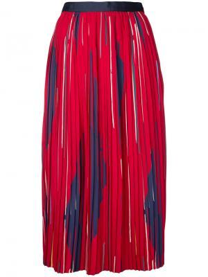 Плиссированная юбка миди с принтом Cityshop. Цвет: красный