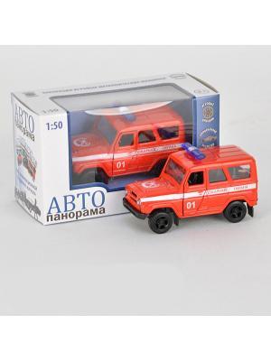 Машинка металлическая инерц. Пожарная охрана 1:50, открываются двери в/к АВТОПАНОРАМА. Цвет: белый, черный, красный