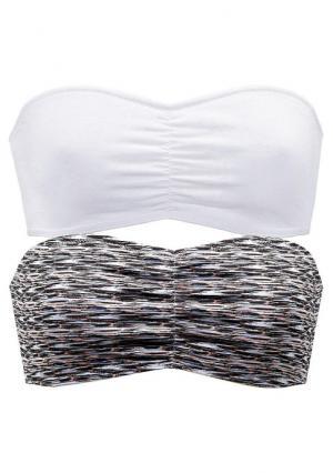Бюстье-бандо, 2 штуки Buffalo. Цвет: белый + с рисунком, черный+серый меланжевый
