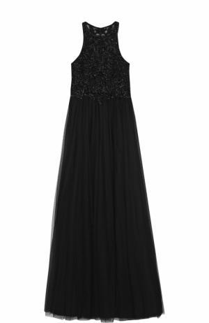 Приталенное платье в пол с вышивкой бисером Basix Black Label. Цвет: черный