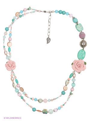 Колье Роман с камнем. Цвет: бирюзовый, розовый