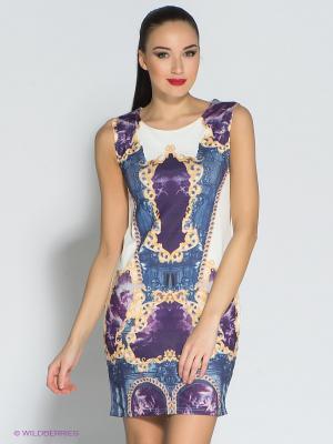 Платье Eunishop. Цвет: фиолетовый, белый, синий