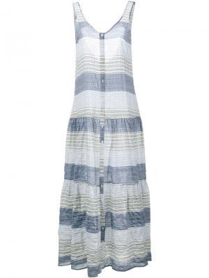 Платье миди в полоску Lisa Marie Fernandez. Цвет: синий