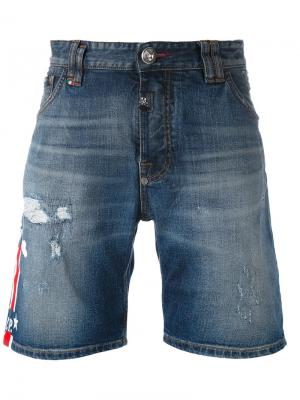 Рваные джинсовые шорты Philipp Plein. Цвет: синий