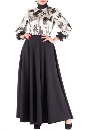 Изысканное строгое платье с кружевом Mannon. Цвет: черно-кремовый