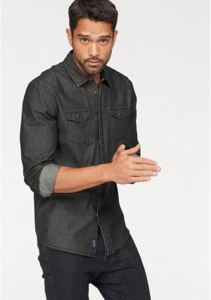 Джинсовая рубашка BRUNO BANANI. Цвет: черный стираный