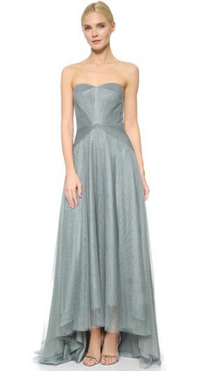 Асимметричное платье без бретелек с вырезом сердечком Monique Lhuillier Bridesmaids. Цвет: голубой