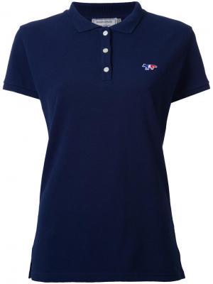 Рубашка-поло с логотипом Maison Kitsuné. Цвет: синий