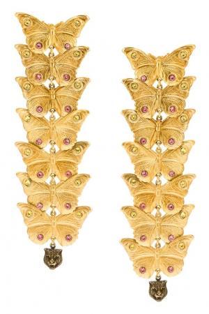 Серьги с кристаллами Gucci. Цвет: золотой