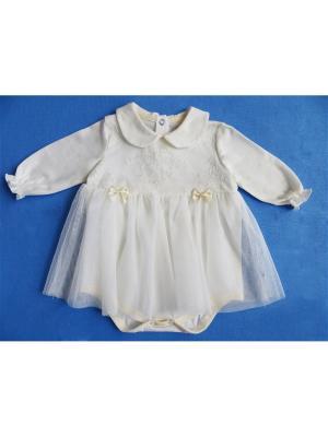 Боди - платье длинный рукав с кружевной грудкой, КОМПЛЕКТЫ НА ВЫПИСКУ Soni kids