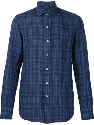 Рубашка в клетку Salvatore Piccolo. Цвет: синий