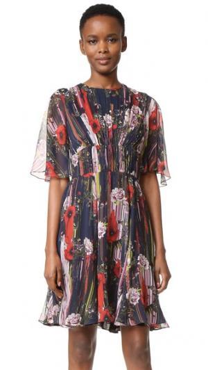 Коктейльное платье из шифона с принтом Jason Wu. Цвет: черный мульти