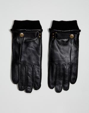 Dents Черные кожаные перчатки Penrith. Цвет: черный