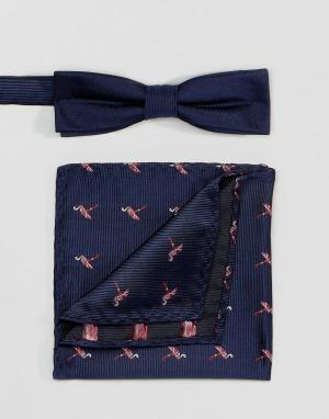 Peter Werth Комплект из галстука-бабочки и платка для нагрудного кармана Wer. Цвет: синий
