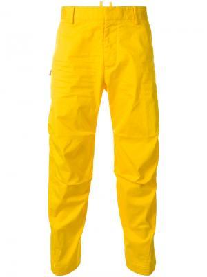 Брюки-чинос со сборками Dsquared2. Цвет: жёлтый и оранжевый