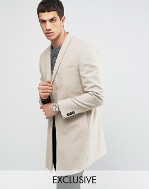 Noak Строгое пальто скинни с лацканами наклонной формы. Цвет: бежевый
