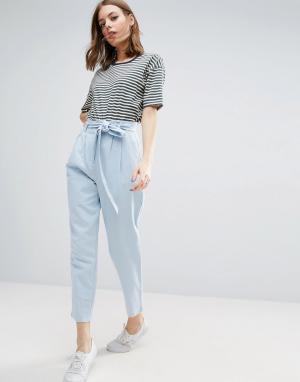 ASOS Льняные брюки-галифе с поясом. Цвет: мульти